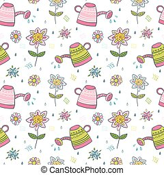 Seamless vector pattern with flowers and watering cans on...