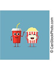 Popcorn striped bucket and cup of soda characters with smiling human face isolated on blue background. Funny cinema fast food