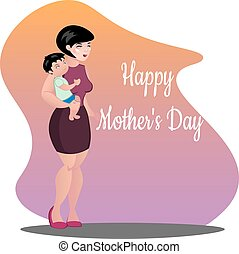 Mother with baby. Happy Mothers day Vector illustration