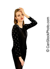 beautiful young girl in a black blouse - Image of a...