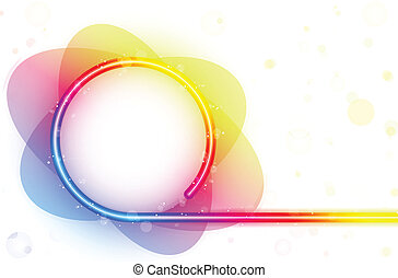 Rainbow Circle Border with Sparkles and Swirls.