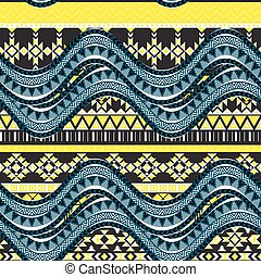 Sea wave background. Ethnic seamless pattern ornament,...