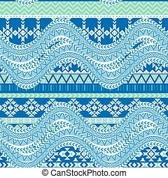 Abstract sea waves background. Ethnic seamless pattern...