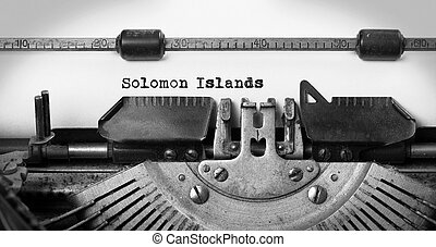 Old typewriter - Solomon Islands - Inscription made by...