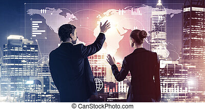 Concept of partnership and cooperation with people using...