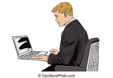 Businessman working on notebook. Stock illustration.
