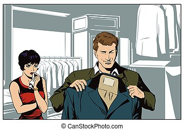 Man in a clothing store. - Stock illustration. People in...