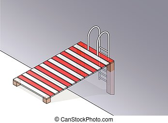 Vector wooden pier, small pool. Outlined wharf, swimming...