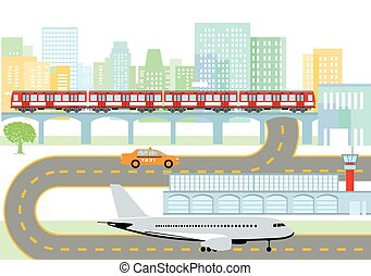 Stadt-Flughafen.eps - City with airport and metro,...