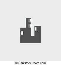 Skyscaper icon in a flat design in black color. Vector...