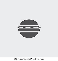 Burger icon in a flat design in black color. Vector...
