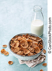 Wheat bran breakfast cereal with milk