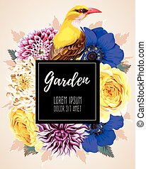 Card with flowers - Vector greeting card with high detailed...