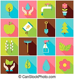 Gardening Spring Colorful Icons