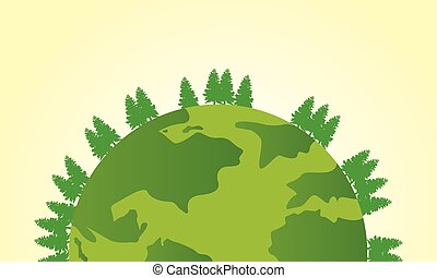 Earth day deign with world and tree vector illustration