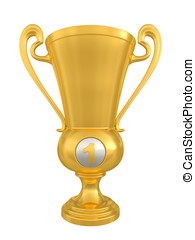 Golden trophy cup on white background Isolated on a white 3D...