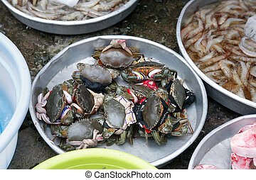 Seafood Street Market - Freshness seafood in metal plates at...