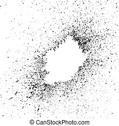 black explosion paint splatter. Small drops, spots isolated...