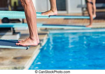 Aquatic Pool Divers Board Feet Closeup Abstract - Aquatic...