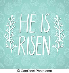 He is risen, Happy Easter holiday celebration card with hand...
