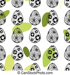 Seamless pattern with hand drawn ornamental eggs and...
