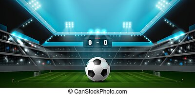 soccer football stadium spotlight and ball background with...
