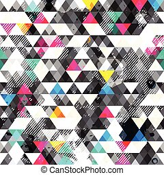 Grunge triangles. Seamless pattern
