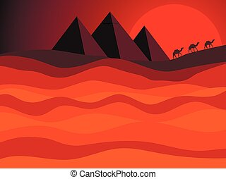 Egyptian pyramids of ancient Egypt. Desert landscape with a caravan of camels in the background of the sun. Vector illustration