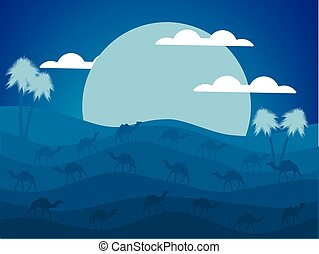 Night desert landscape. Caravan of camels in the desert. The big moon. Vector illustration