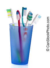 青, 隔離された, ガラス, 背景, 白, 歯ブラシ