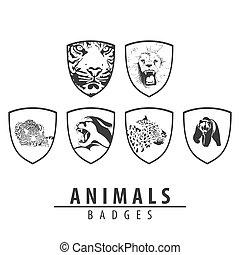 Animal emblem on white background