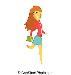 Cheerful student girl jumping and holding a book. Colorful...