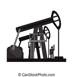 Oil pump jacks. Oil industry production equipment, Flat...