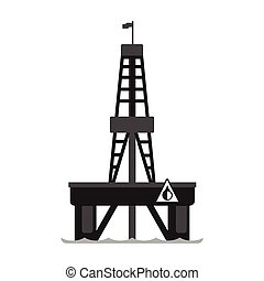 Oil platform in the sea. Oil industry production equipment,...