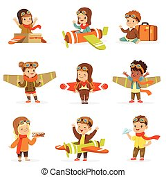 Small Children In Pilot Costumes Dreaming Of Piloting The...