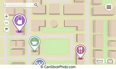 Marks on a gps map. Camera moves through gps map - Marks on...