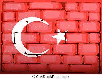 Turkey flag on brickwall illustration