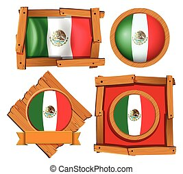Mexico flag in different frame designs