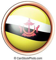 Brunei flag on round badge illustration