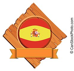 Spain flag on wooden board