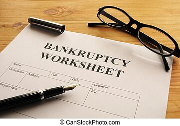 bankruptcy worksheet form or document showing business...