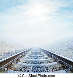 railroad closeup in fog