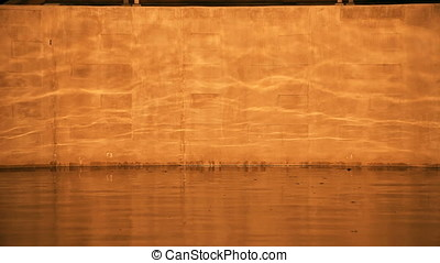 Sunset Water Lake Ripple Reflection Motion Backgrounds on Concrete Wall
