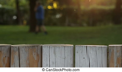 Playground Motion Background with Wood Block Fence -...