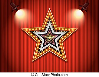 Light neon sign star shape - Brightly theater glowing retro...