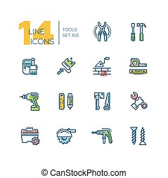 Tools - colored modern single line icons set - Tools -...