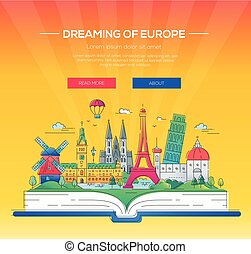 Dreaming of Europe - vector line travel illustration