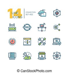 Connection - colored modern single line icons set. -...