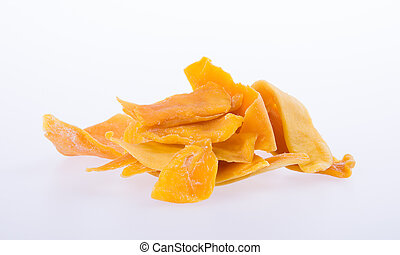 mango dry or dried mango slices on background. - mango dry...