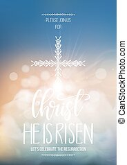Christ He is risen, vector Easter religious poster template...